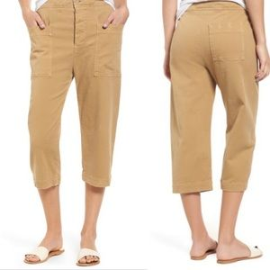 James Perse crop stretch twill work pants